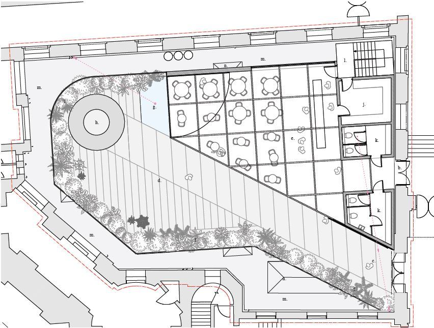 Ground floor plan of developed concept for Chimney