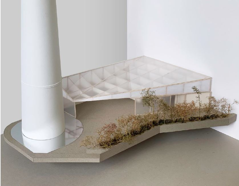 A partial 1:50 model of the proposed pavilion